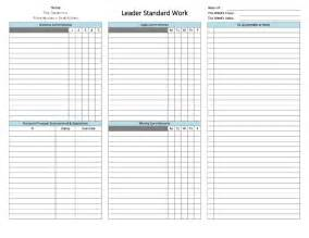 standard work templates standard work templates standard work template free