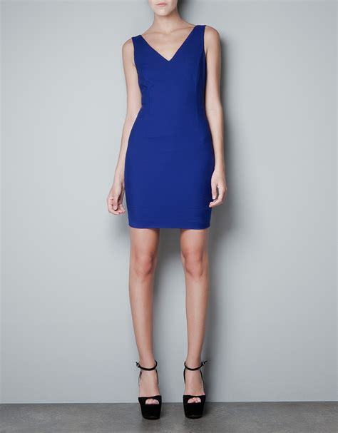 Dress Zara V zara v neck dress in blue ink blue lyst