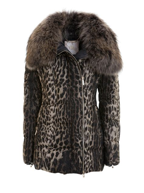 Print Padded Jacket animal print padded jacket with fur by via delle perle