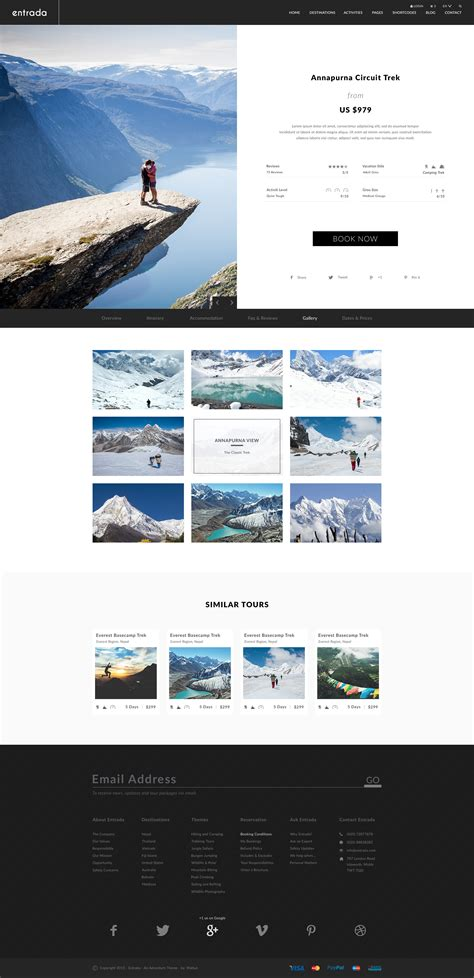 Entrada Adventure And Tour Psd Template By Waituk Themeforest Adventure Website Templates
