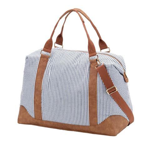 monogrammed navy seersucker weekender bag