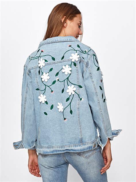 light wash denim jacket cheap light wash flower applique embroidered denim jacket shein