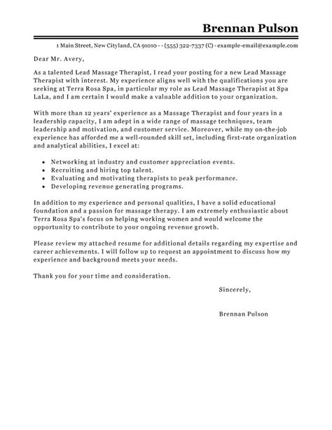 Lead Architect Cover Letter by Cover Letter Exle Therapy Cover Letter Exle