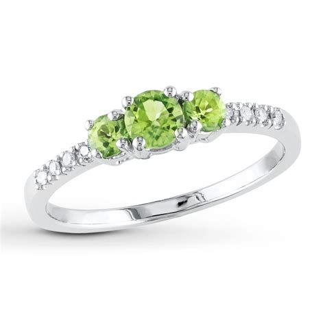 Ring Peridot 3 peridot ring 1 20 ct tw diamonds 10k white gold