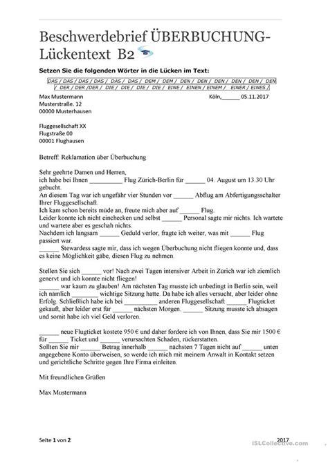 Beschwerdebrief Muster B2 beschwerdebrief 220 berbuchung mit l 246 sungen arbeitsblatt