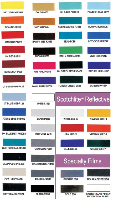3m pinstripe color chart reanimators