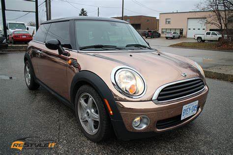 rose gold car rose gold mini cooper vehicle customization shop vinyl