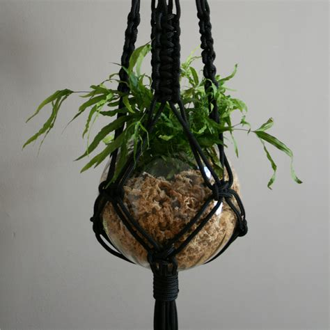 Hanging Plant Hangers - mr big black macrame plant hanger the knot studio