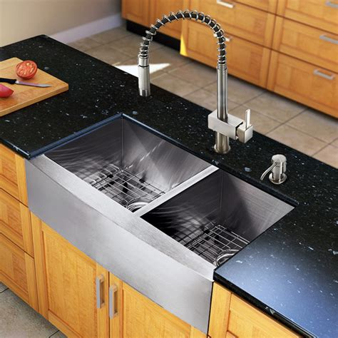 Kitchen Sinks Houzz Vg15136 All In One 33 Inch Farmhouse Bowl Kitchen Sink And Faucet Set Modern