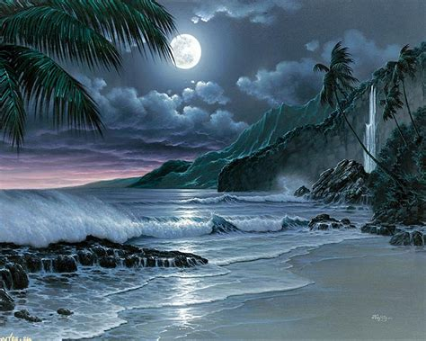 paint the nite island moon island lonesome painting sand wallpaper
