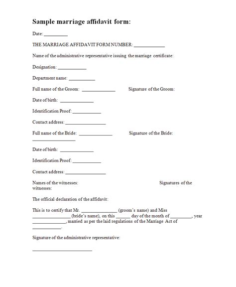 affidavit of template affidavit forms free form templates marriage affidavit