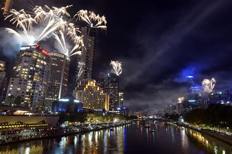 new year in melbourne 2014 the skyline in melbourne australia was surrounded by