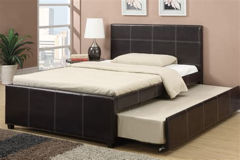 double bedroom espresso faux leather full size bed with twin trundle bed