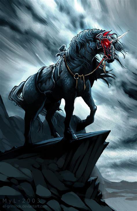 dark unicorn wallpaper black unicorn by el grimlock on deviantart