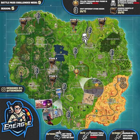fortnite challenges for season 5 sheet map for fortnite season 5 week 9 challenges