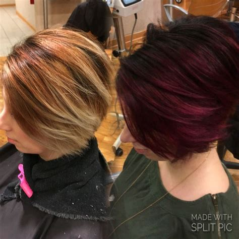 haircuts bellingham wa before after dark roots burgundy red ends root