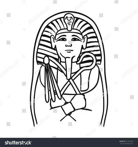 Pharaoh Outline by Pharaoh Sarcophagus Icon Outline Style Stock Vector 521559676