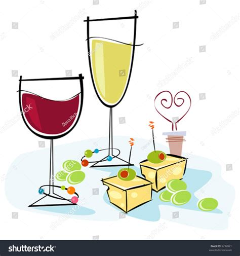 retro cocktail clipart retrostylized cocktail spot illustration wine cheese stock
