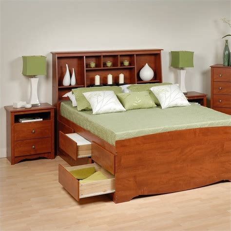 cherry queen wood platform storage bed  piece bedroom set cbq  pkg