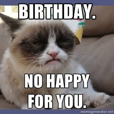 Grumpy Cat Happy Birthday Meme - funny birthday meme smile it s your birthday picture