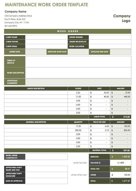 40  Work Order Template Free Download [WORD, EXCEL, PDF]
