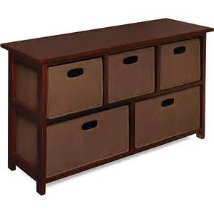 Cabinets With Baskets Wooden Cherry Storage Cabinet With Baskets Overstock