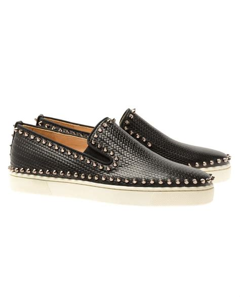 christian louboutin studded leather slip on shoes in black