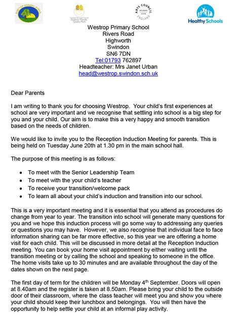 College Letter To Parents letters new parents sept 2017 westrop primary