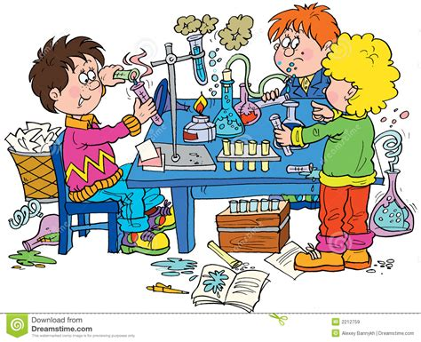 chemistry stock illustration image of children drawing