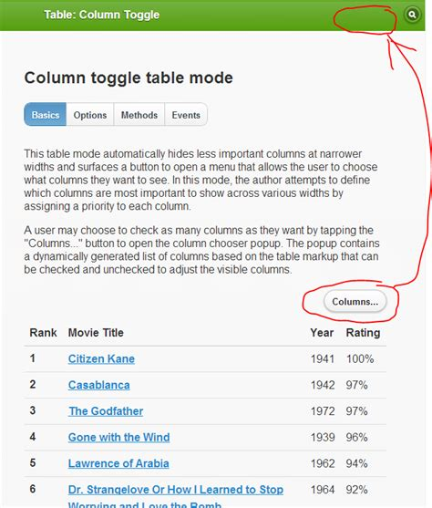 how to set the placeholder for column toggle button in the