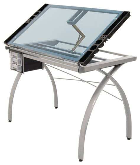 Contemporary Drafting Table Offex Contemporary Blue Tempered Glass Top Futura Craft Station Silver Contemporary