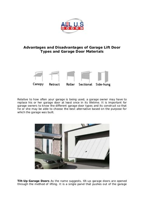 the advantages of using garage all us doors advantages and disadvantages of garage lift door types