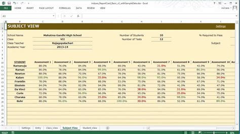 excel template for report card report card basic excel template