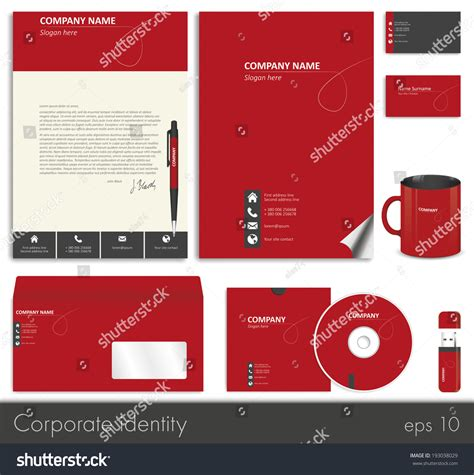 flash card template card stock paper business style corporate identity template 7 stock vector