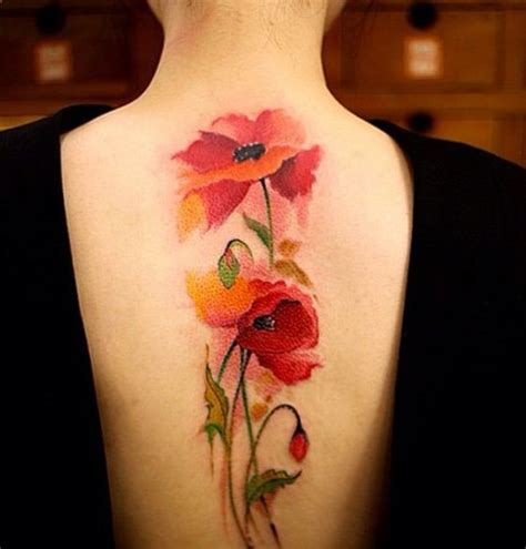 watercolor tattoo upper back watercolor poppy flowers on back