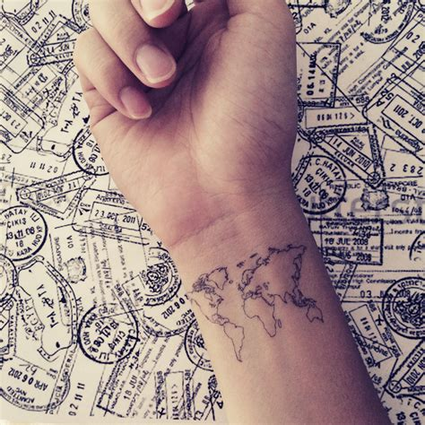 2pcs world map love travel wrist tattoo inknart