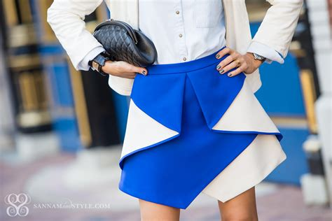 cobalt blue origami skirt leather jacket chambray