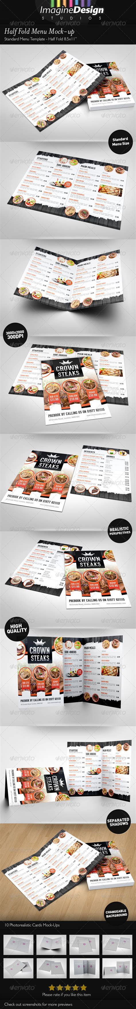 half fold menu mock up cafe menu menu templates and menu