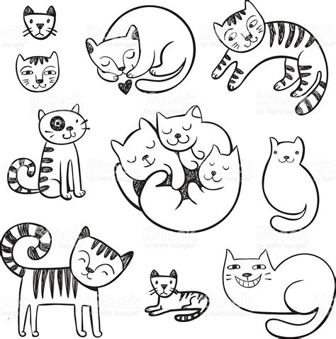 doodle cat drawing doodle cats with different emotions stock vector