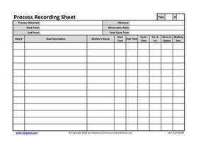 Process Study Template by Office Process Recording Sheet