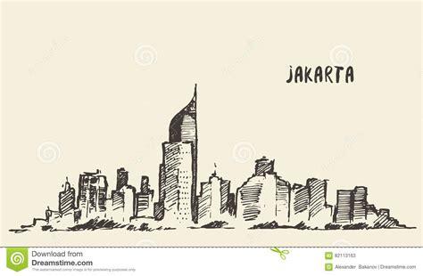 indonesia detailed skyline vector illustration stock jakarta skyline vintage drawn sketch stock vector image