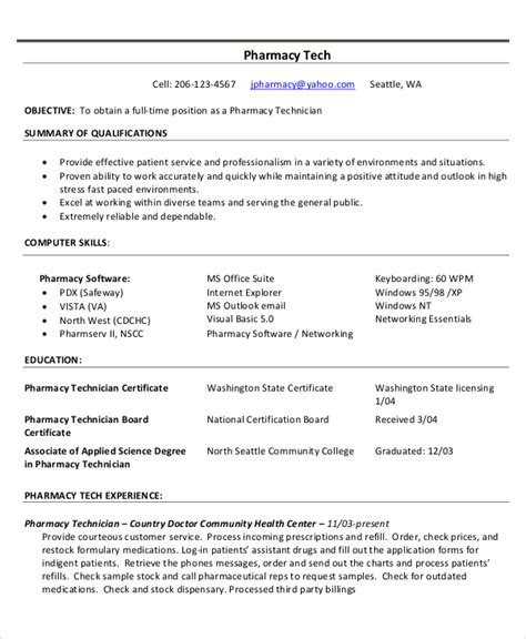 Pharmacy Tech Resume Template by Technician Resume Template 8 Free Word Pdf Documents