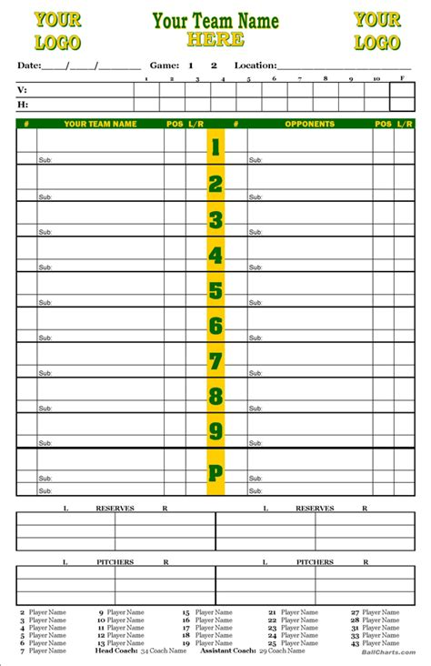 dugout lineup card template image gallery baseball charts