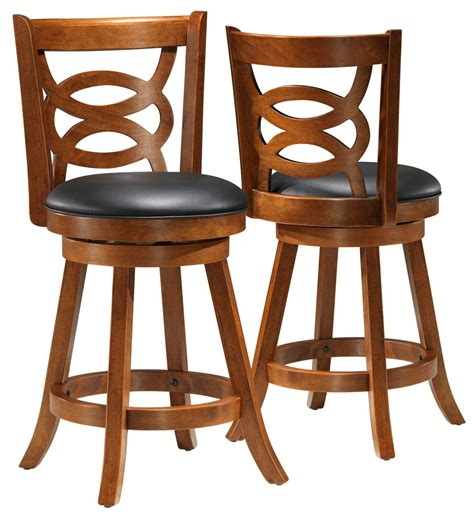 1252 oak solid wood 39 quot swivel counter stool set of 2