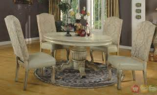 traditional round antique stye white formal dining set