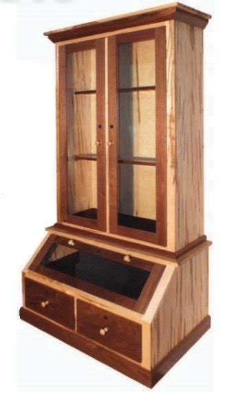 american walnut wormy maple gun cabinet
