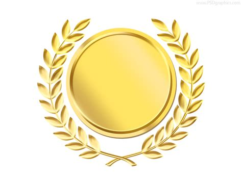 gold laurel wreath medal template psd psdgraphics