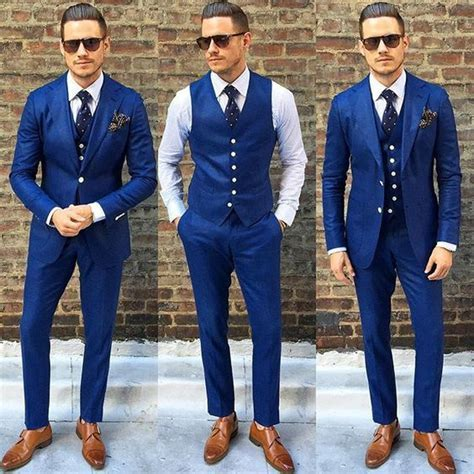 Tailor Made Navy Blue Linen Suits For Beach Wedding Slim