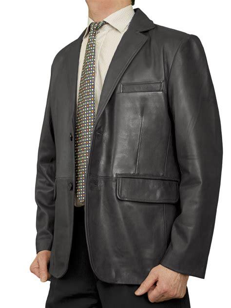 Luxurius Jacket mens luxury leather blazer jacket 2 button 5 colours tout ensemble
