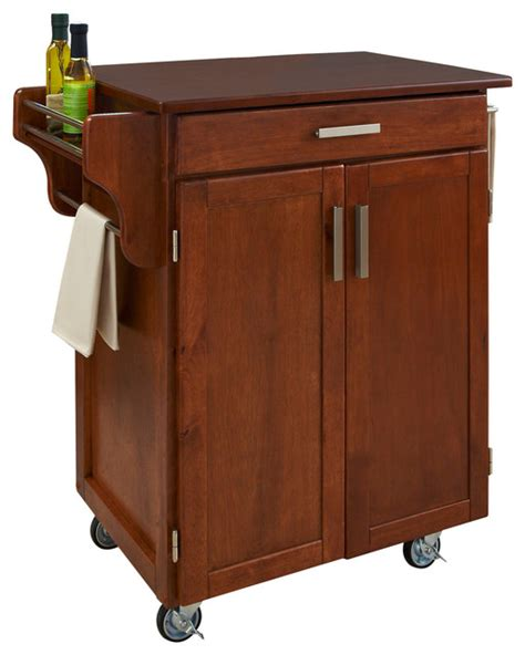 Oak Kitchen Carts And Islands Warm Oak Cuisine Cart With Cherry Top Transitional